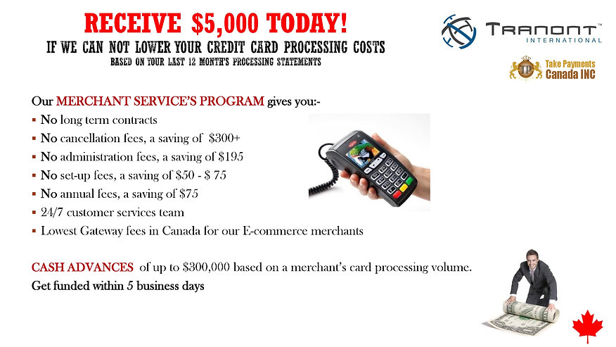 Take Payments Tranont $5000 Offer