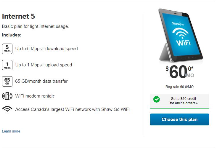 Shaw Internet 5
