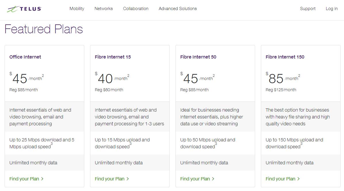 Telus Business Internet - Rates