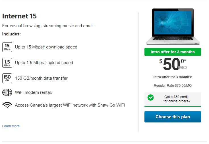 Shaw Internet 15