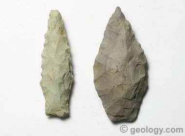 Two arrowheads made from rhyolite