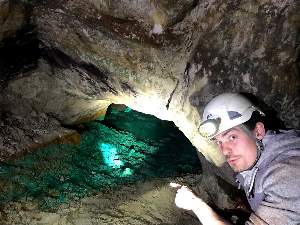 Deep inside West Mine is a river of copper oxide which has leached out of the rock via groundwater and redeposited in a pool.