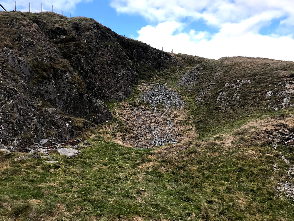 One of the scree slopes at Copa Hill left behind by Bronze Age miners