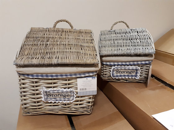 Lean Top Storage with Gingham - Set of 2