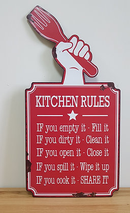 Metal Sign - Kitchen Rules
