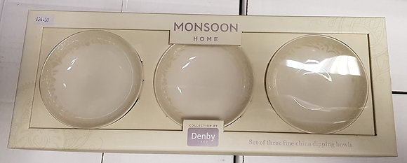 Denby Monsoon Lucille Gold Dipping Bowls - Set of 3