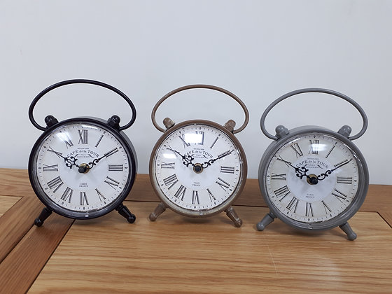 Vintage Style Table Clock - 3 colours