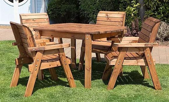 Garden Furniture Four Seater Rectangular Table & Chair Set