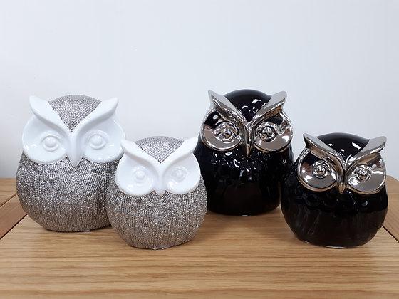 Owl Ornament - silver & white or black & silver