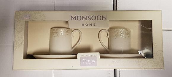 Denby Monsoon Lucille Gold Espresso Cup & Saucer - Set of 2