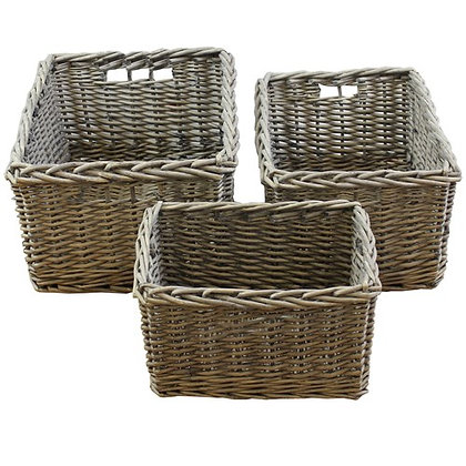 Chunky Willow Baskets - Set of 3
