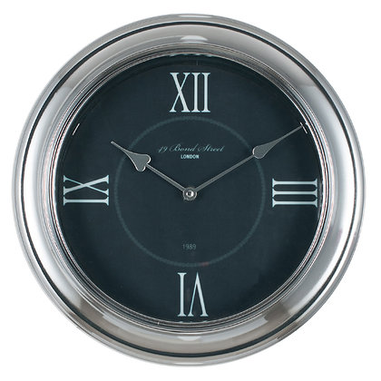 Round Wall Clock - Silver & Black