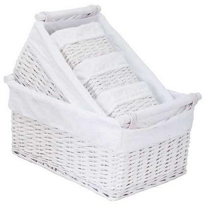 White Storage Baskets - Set of 5