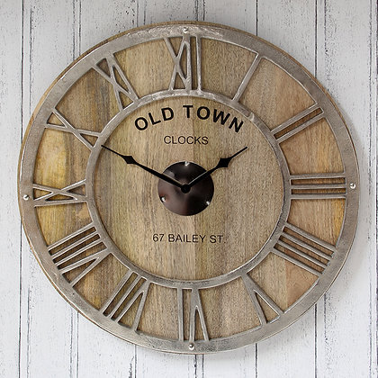 Round Wall Clock - Raw Nickel & Mango Wood