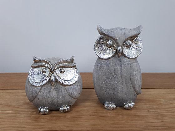 Owl Ornament - grey/silver