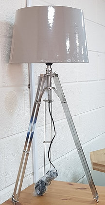 Metal Floor Lamp with Taupe Shade