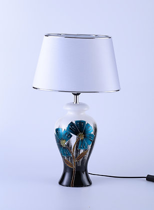Lamp with Silver Shade - Blue & White