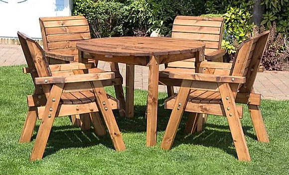 Garden Furniture Four Seater Round Table & Chair Set