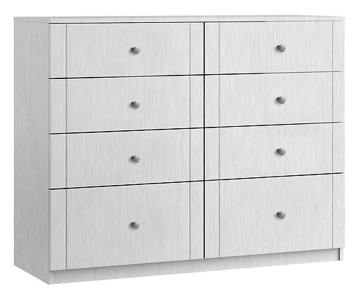 Sienna 8 Drawer Twin Chest with 2 Deep Drawers - White