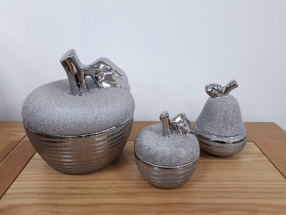 Pear & Apple Pots - Silver