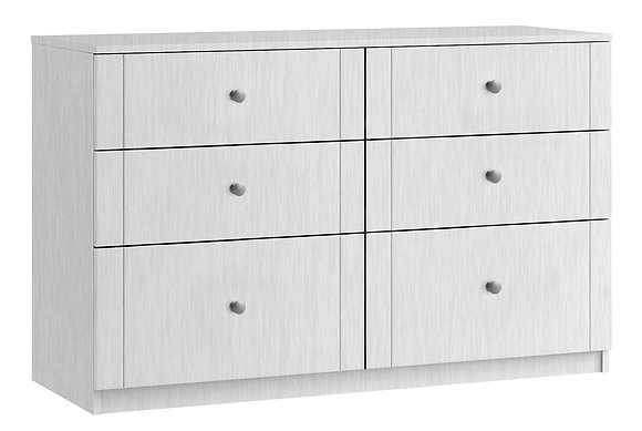 Sienna 6 Drawer Twin Chest with 2 Deep Drawers - White