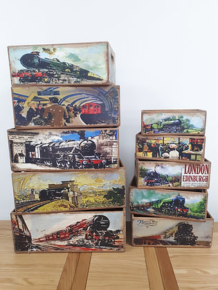 Wooden Storage Box Trains & Stations - 10 Sizes
