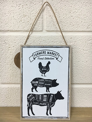 Wooden Sign - Meat Cuts