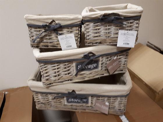Grey Wash with Beige Linen Baskets - Set of 4
