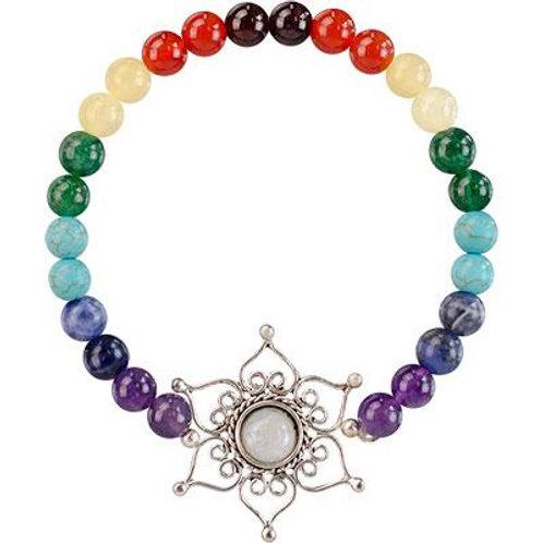 Bracelet- Chakra Bracelet with Lotus Flower