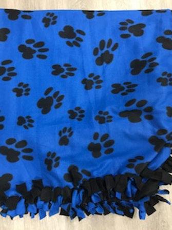 Blue Paw Tie Blanket