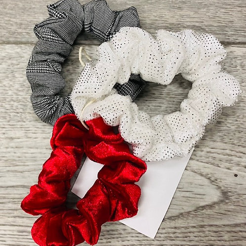 Black,White and Red Scrunchies