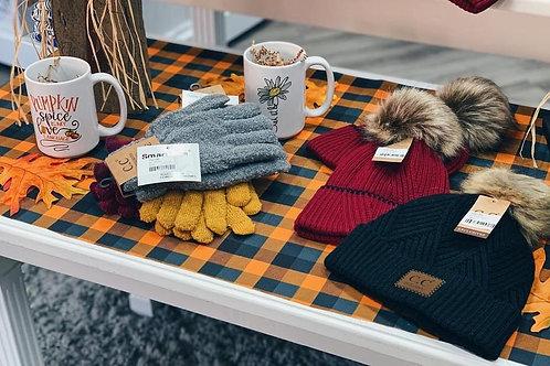 CC Pom Beanie and Gloves Set
