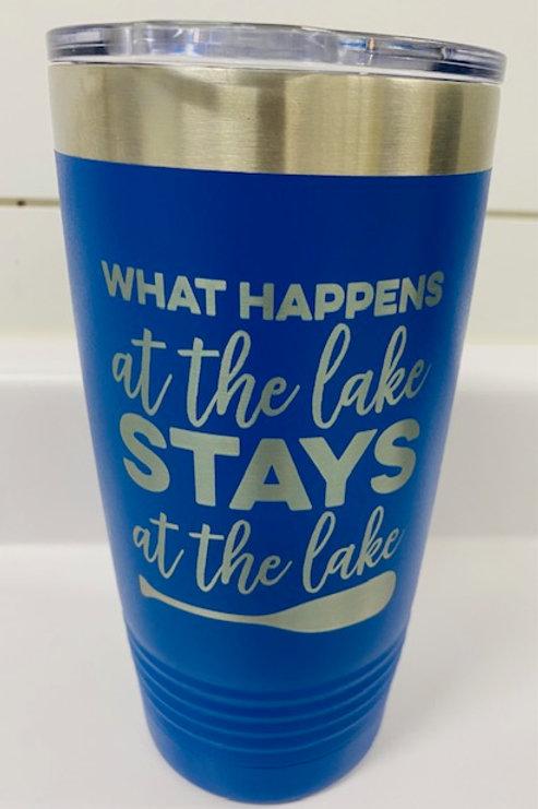 What Happens at the Lake Stays at the Lake Travel Mug