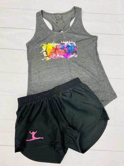 Girls Gymnastics Tank and Shorts Combo