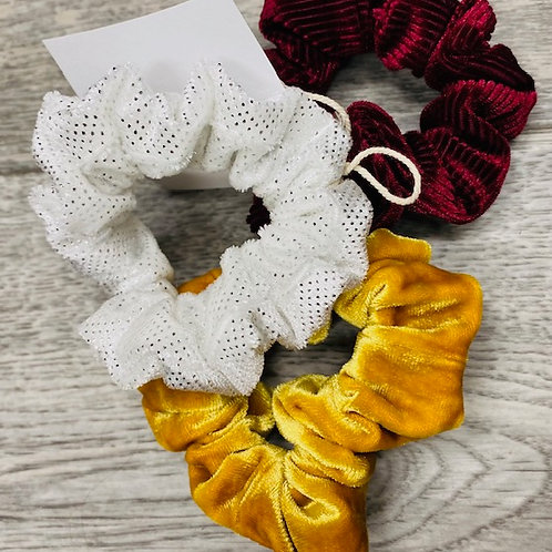 Gold,Maroon and White Scrunchies