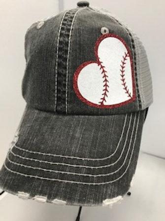 Baseball Heart Trucker Hat