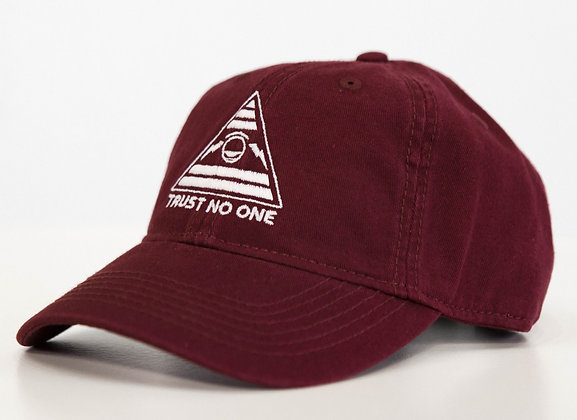 TRUST NO ONE MAROON DAD HAT