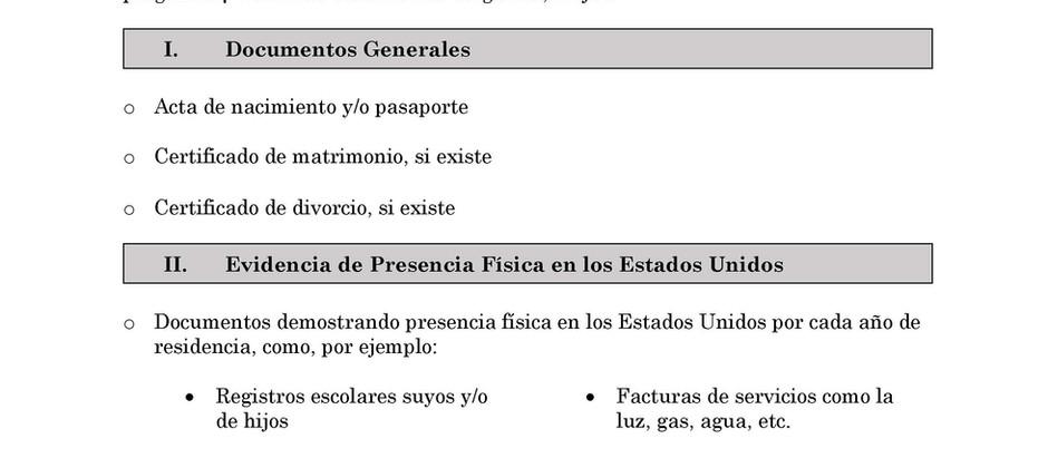 Lista de documentos para la fianza de inmigracion