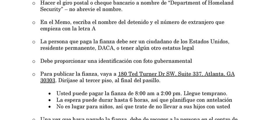 Instrucciones para pagar la Fianza de ICE