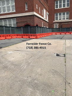 Construction Chain Link Fence and Jersey Barriers  by Forrester Fence Co. (718) 385-4915