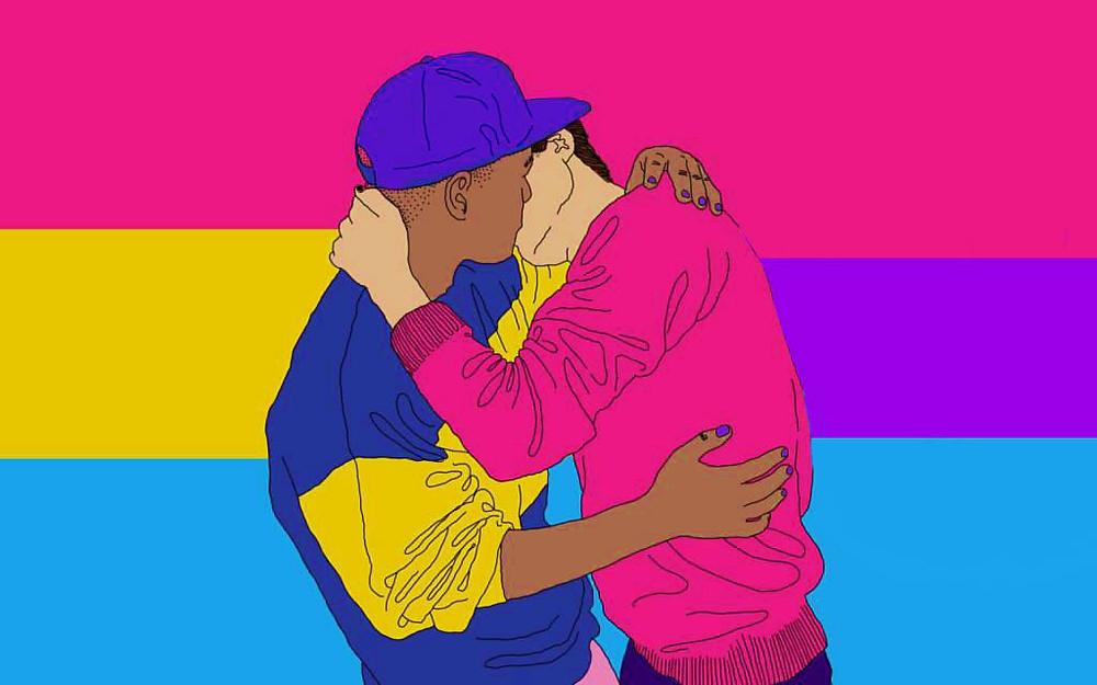 Solidariedade apesar das diferenças entre bi e pan. Uma pessoa bissexual beijando outra pansexual enquanto o fundo se apresenta metade a bandeira bi e a outra metade a bandeira pan.