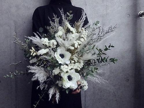 【大人気】淡いカラーを細かく束ねたおしゃれアネモネブーケ ウェディングブーケ プレゼント 花束 ドライフラワーブーケ