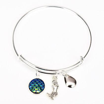 Emerald Iridescent Button Bracelet with Mermaid
