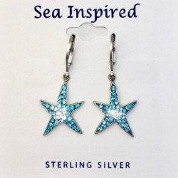 Sea Star Lever Back Earrings Swarovski Crystal