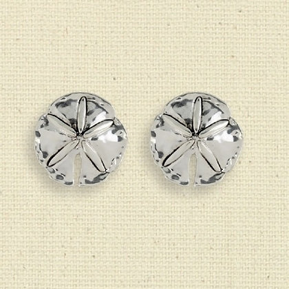 Silver Sand Dollar Clip Earrings