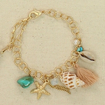 Gold Link Charm Bracelet with Sea Life