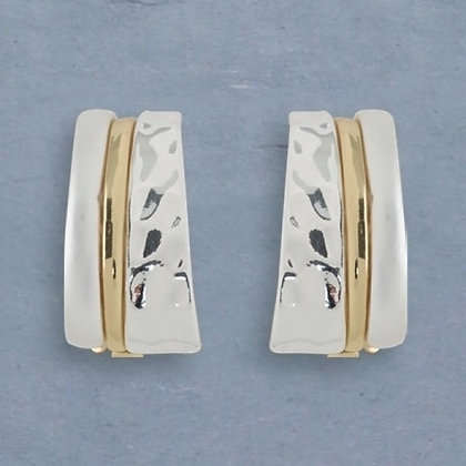 Matte Siver, Gold and Bright Silver Cuff Clip Earrings