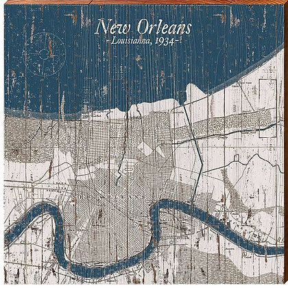 """Louisiana Maps New Orleans Sign 10.5"""" x 10.5"""""""