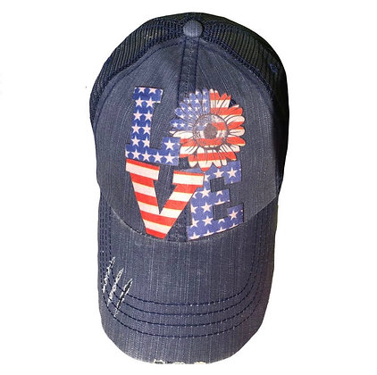 Love Red White & Blue Cap - Navy