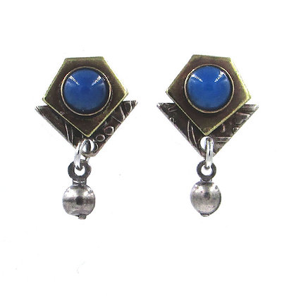 Blue Stone and Silver Drop Earrings